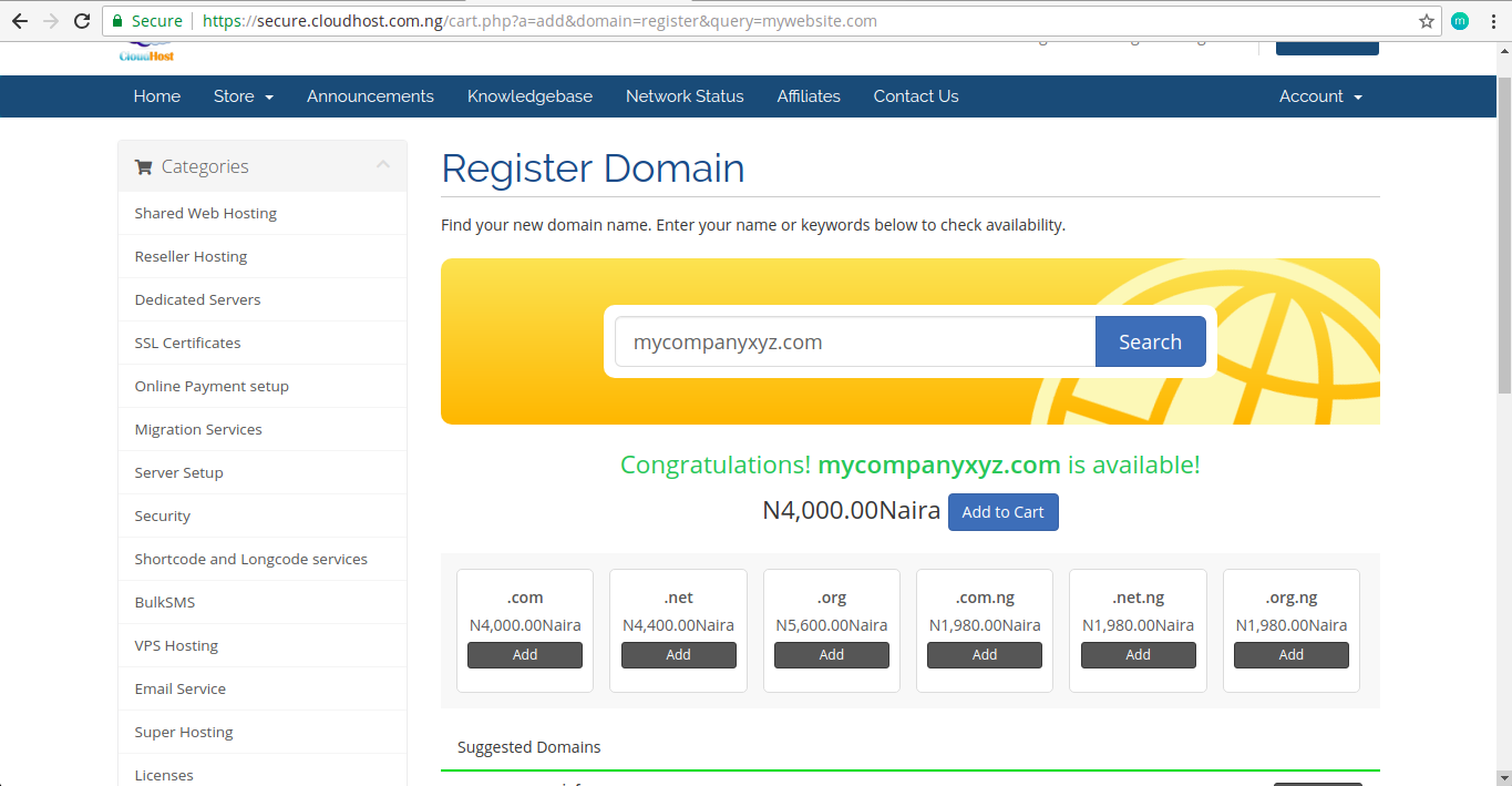 Register-domain-cart-sucessful