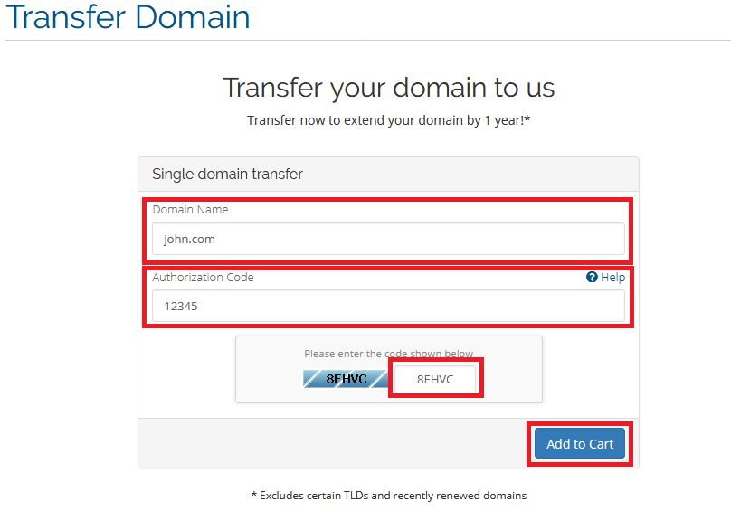 CloudHost, domain name transfer