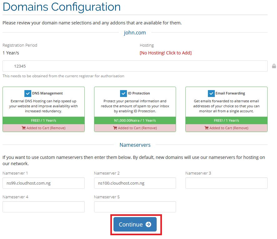 CloudHost, configure domain, transfer domain name