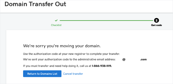 CloudHost, transfer domain from GoDaddy