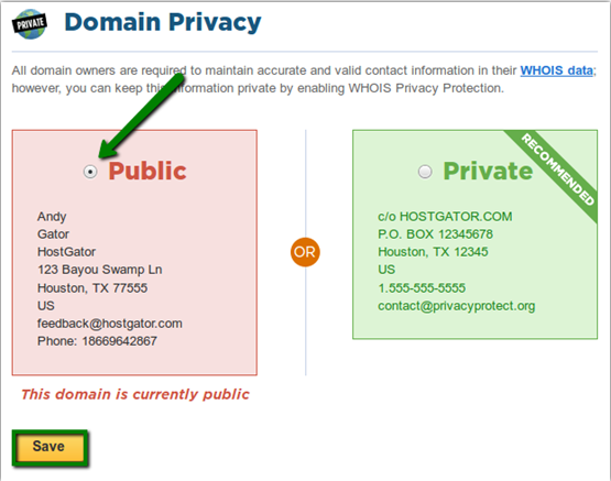 Turn off domain privacy, transfer domain