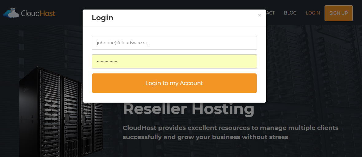 login to CloudHost