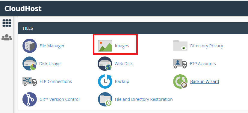 click images in cpanel